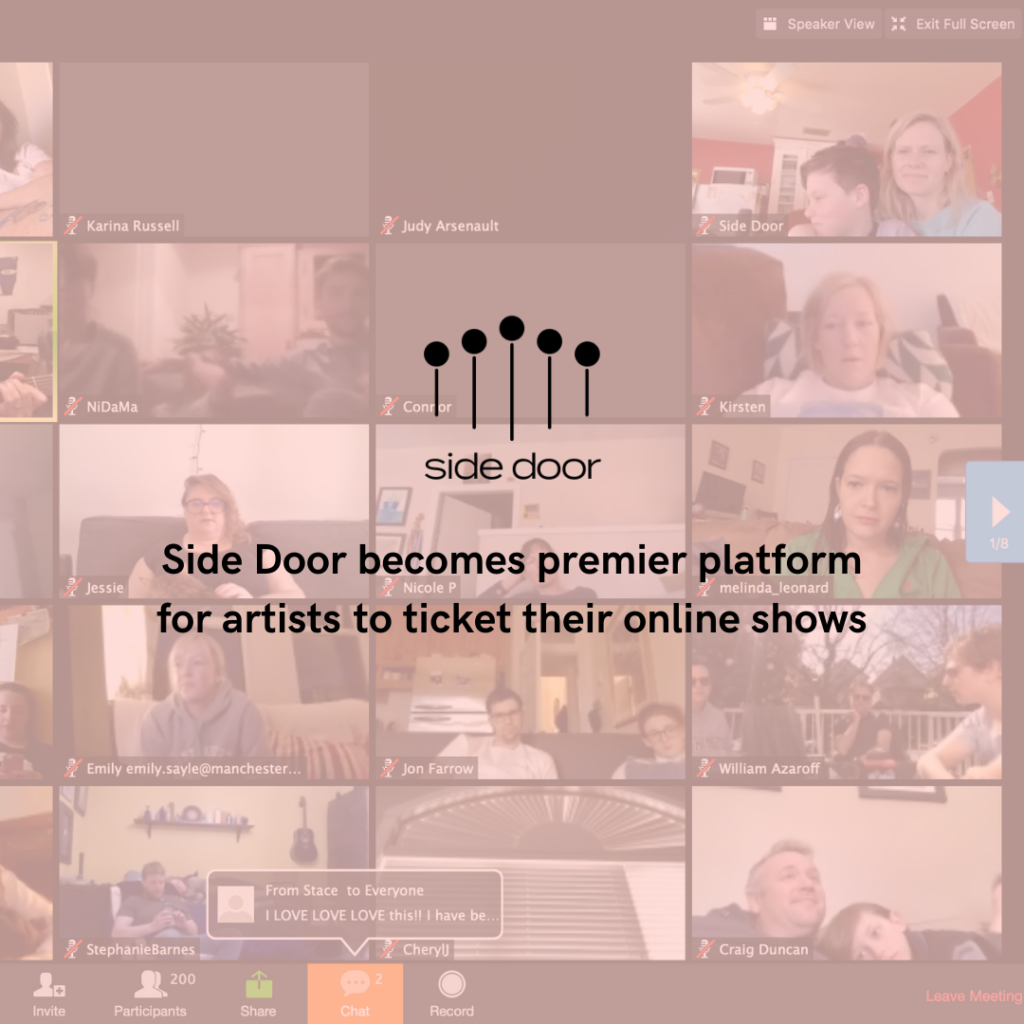 Side Door becomes premier platform for artists to ticket their online shows