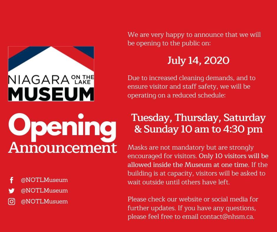 Niagara-on-the-Lake Museum Re-Opening to the Public July 14, 2020