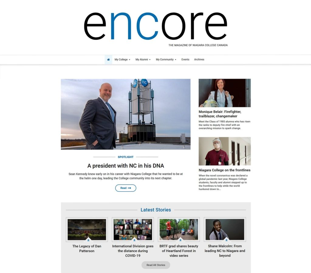 Niagara College launches new encore magazine website