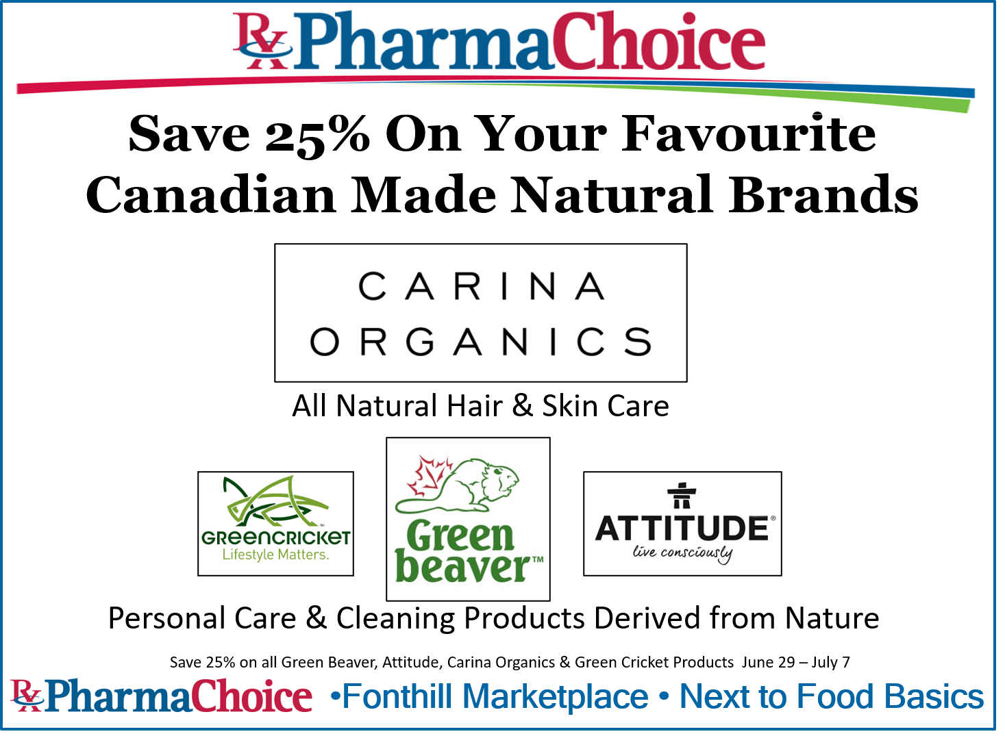 Save 25% on your Favourite Canadian Made Natural Brands