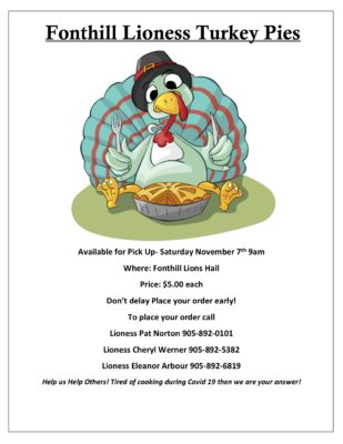 Order Your Fonthill Lioness Turkey Pies!