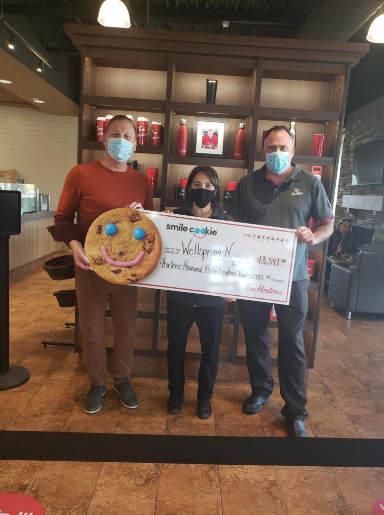 $13,347.40 donated to Wellspring Niagara in Fonthill as Tim Hortons® raises a record-breaking $10.56 million in national Smile Cookie Campaign