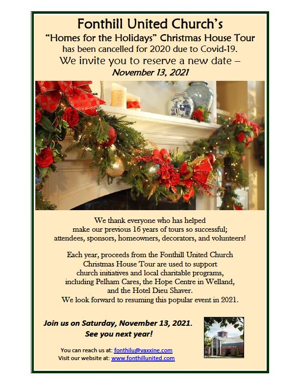 """Fonthill United Church's """"Homes for the Holidays"""" Christmas House Tour Cancelled"""