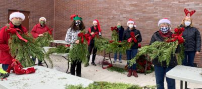 Decorating Christmas Elves hard at work around Town!