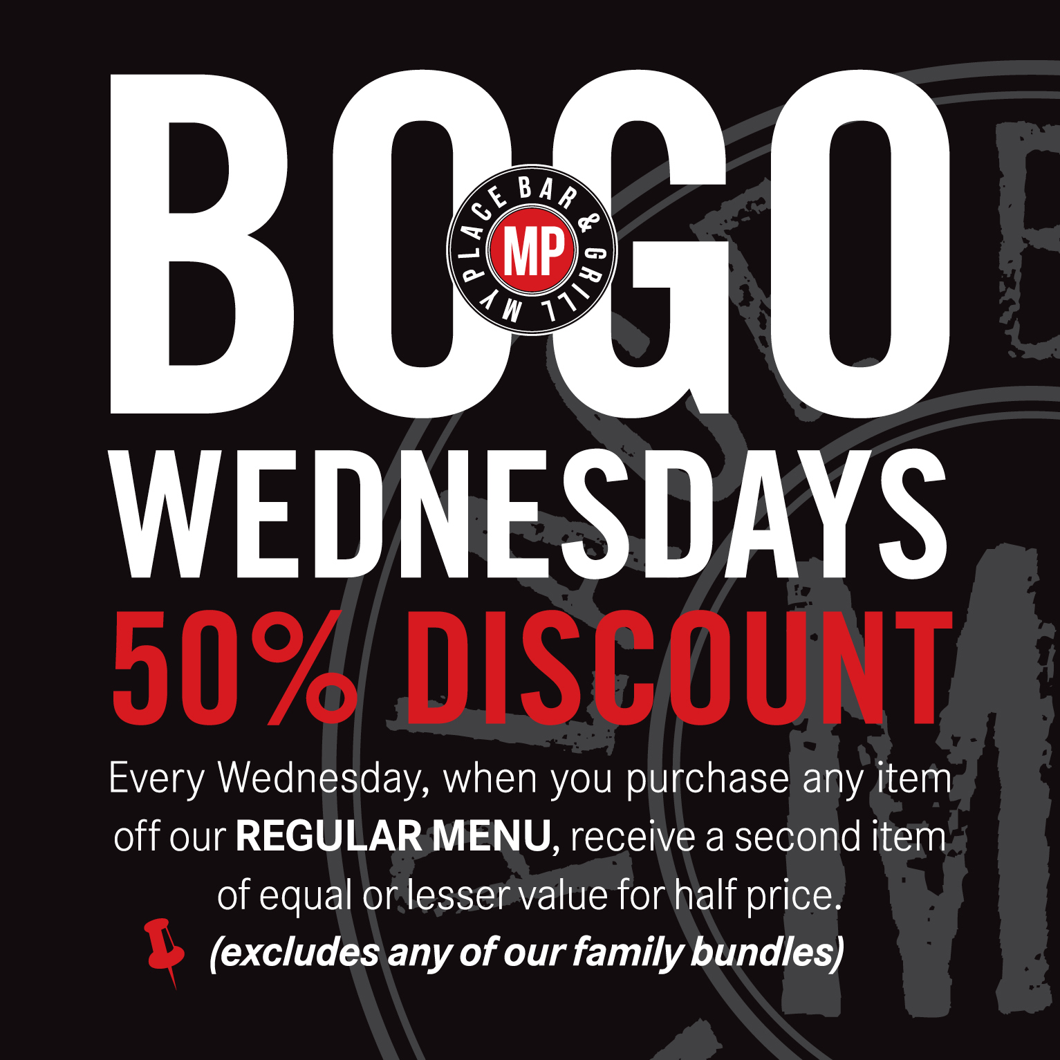 BOGO Wednesdays at My Place Bar & Grill