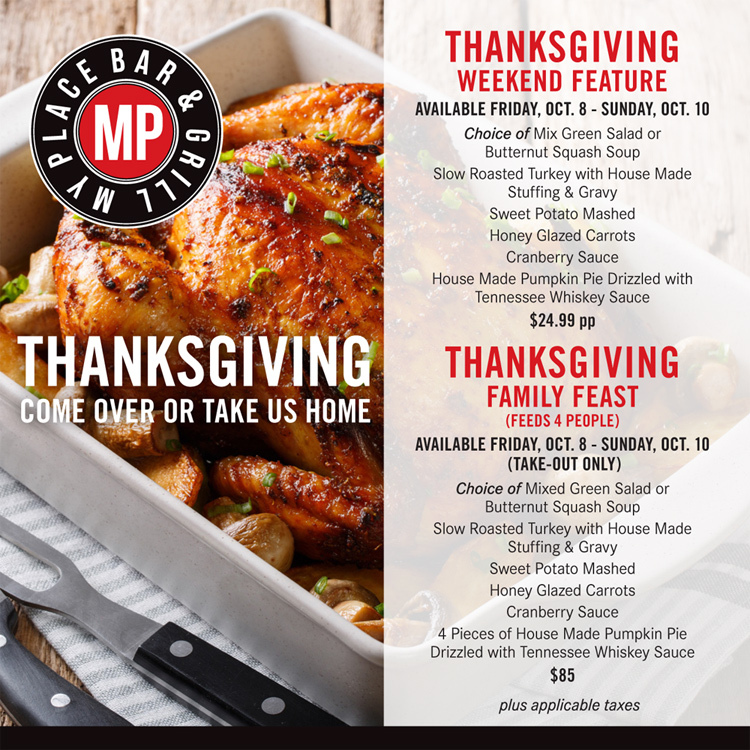 Thanksgiving Feast from My Place Bar & Grill