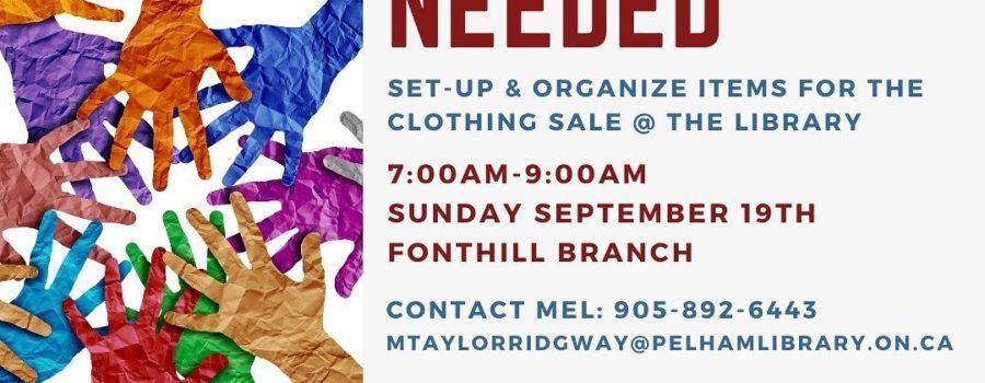 Volunteers Needed! Pelham Public Library Clothing Sale