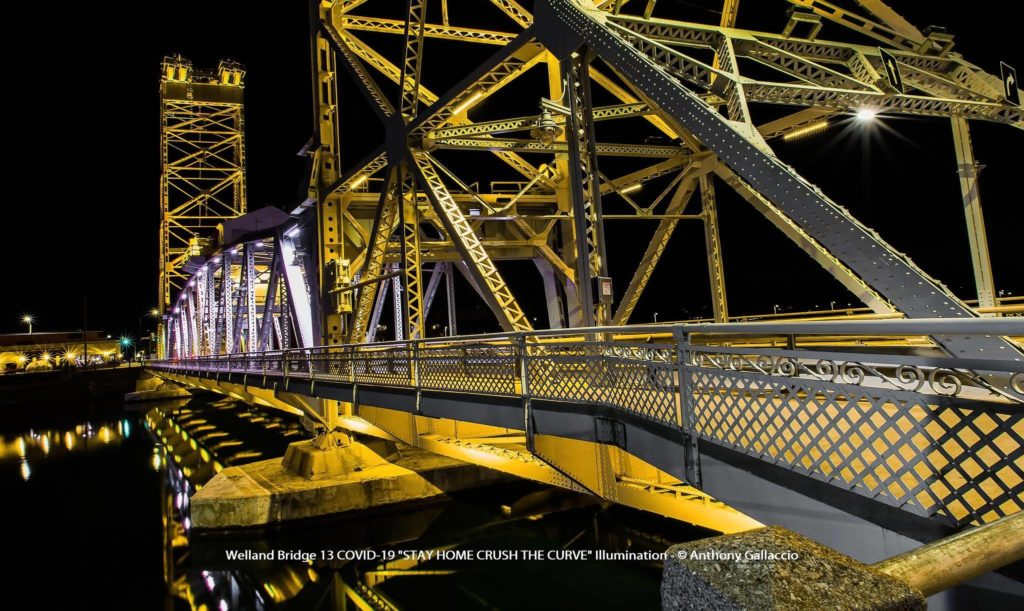Bridge 13 Illuminated In Yellow To Signify Hope