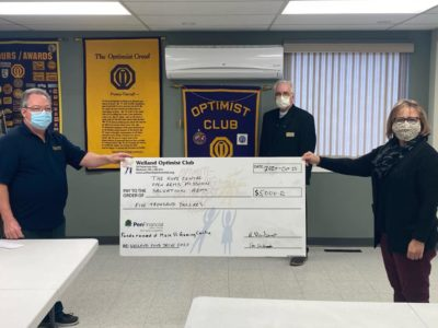 Welland Optimist Club Donates to Welland Food Drive 2020