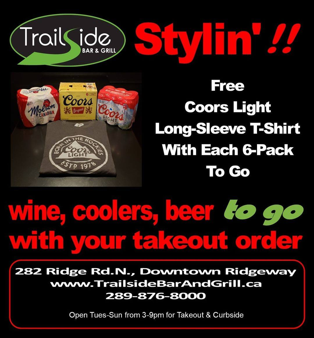 """We feed you, we dress you – good ol' Trailside Bar and Grill!"""
