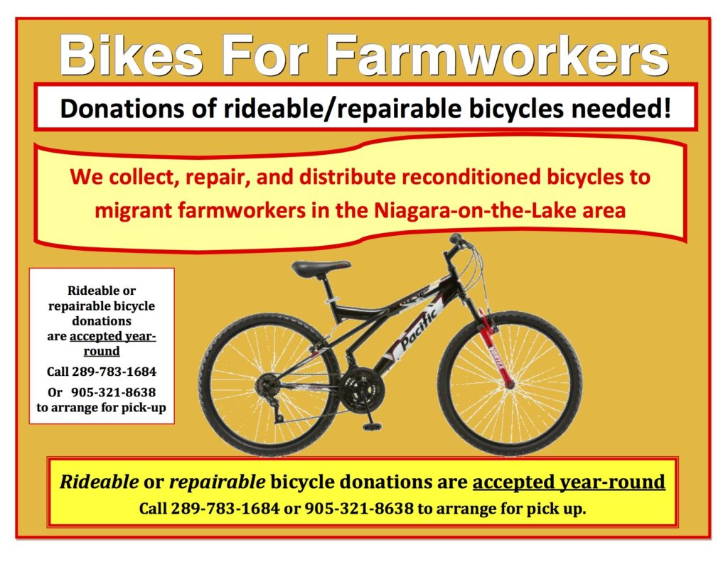 Bikes for Farmworkers – Donations of rideable/repairable bicycles needed!