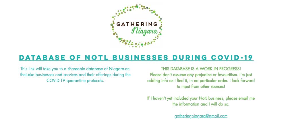 Gathering Niagara Database of NOTL Business During COVID-19