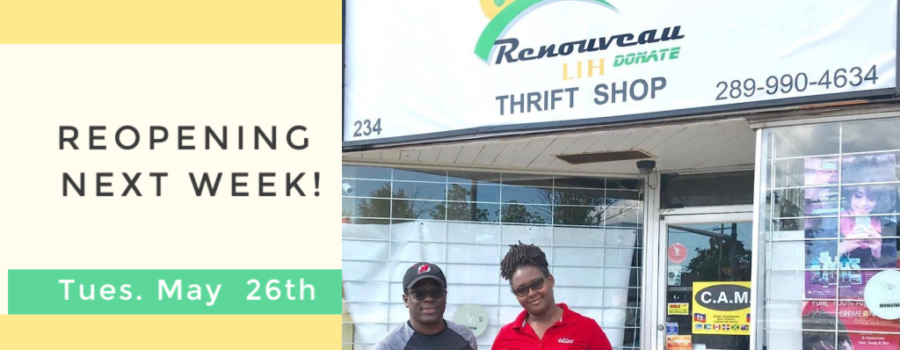 Renouveau LIH Donate Thrift Store Reopening May 26th