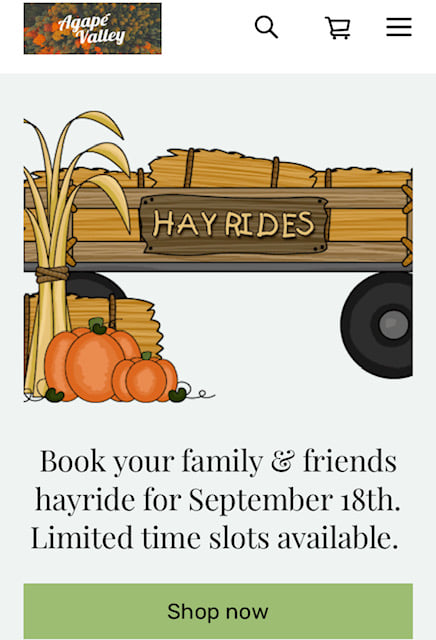 Book Your Friends & Family Hayride at Agape Valley